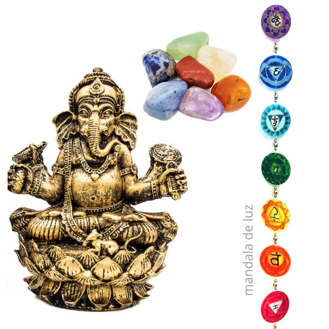 Combo Fio de Luz Chakras + Kit 7 Pedras Chakras + Estátua de Ganesha