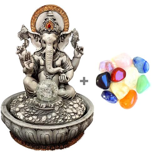 Combo Fonte de Água de Ganesha + Kit 10 Pedras Mistas