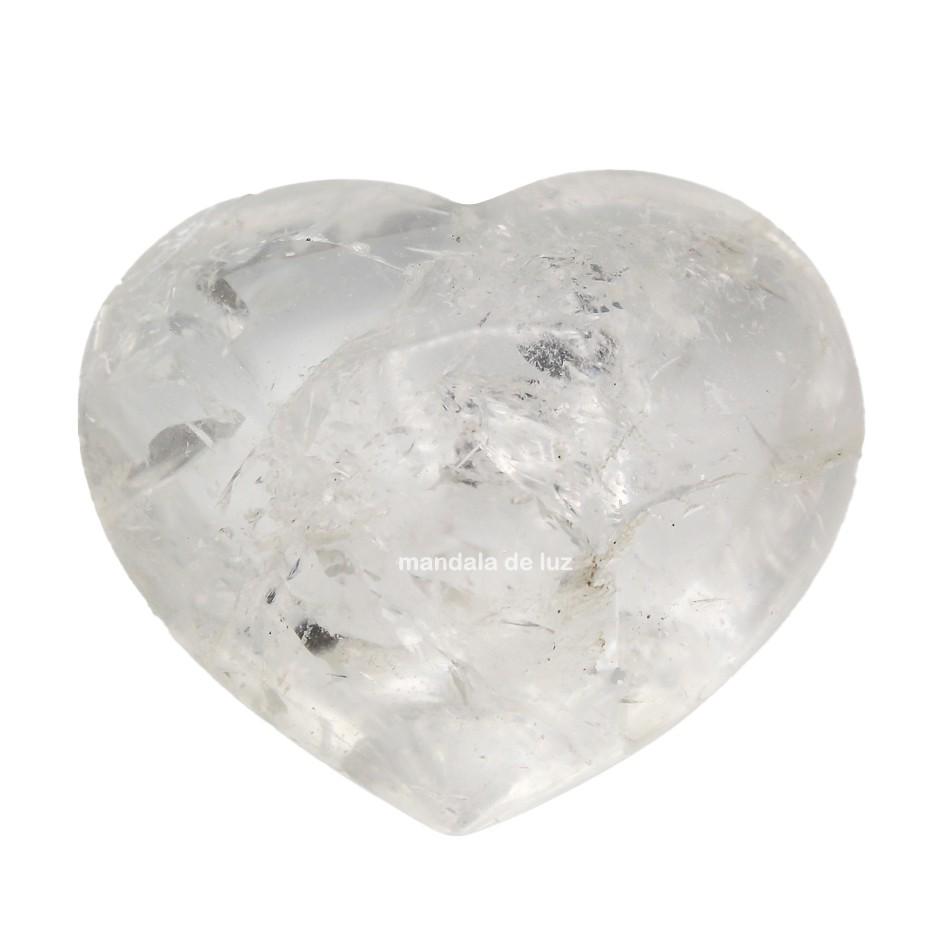 Coração de Cristal Natural de Quartzo Transparente Branco