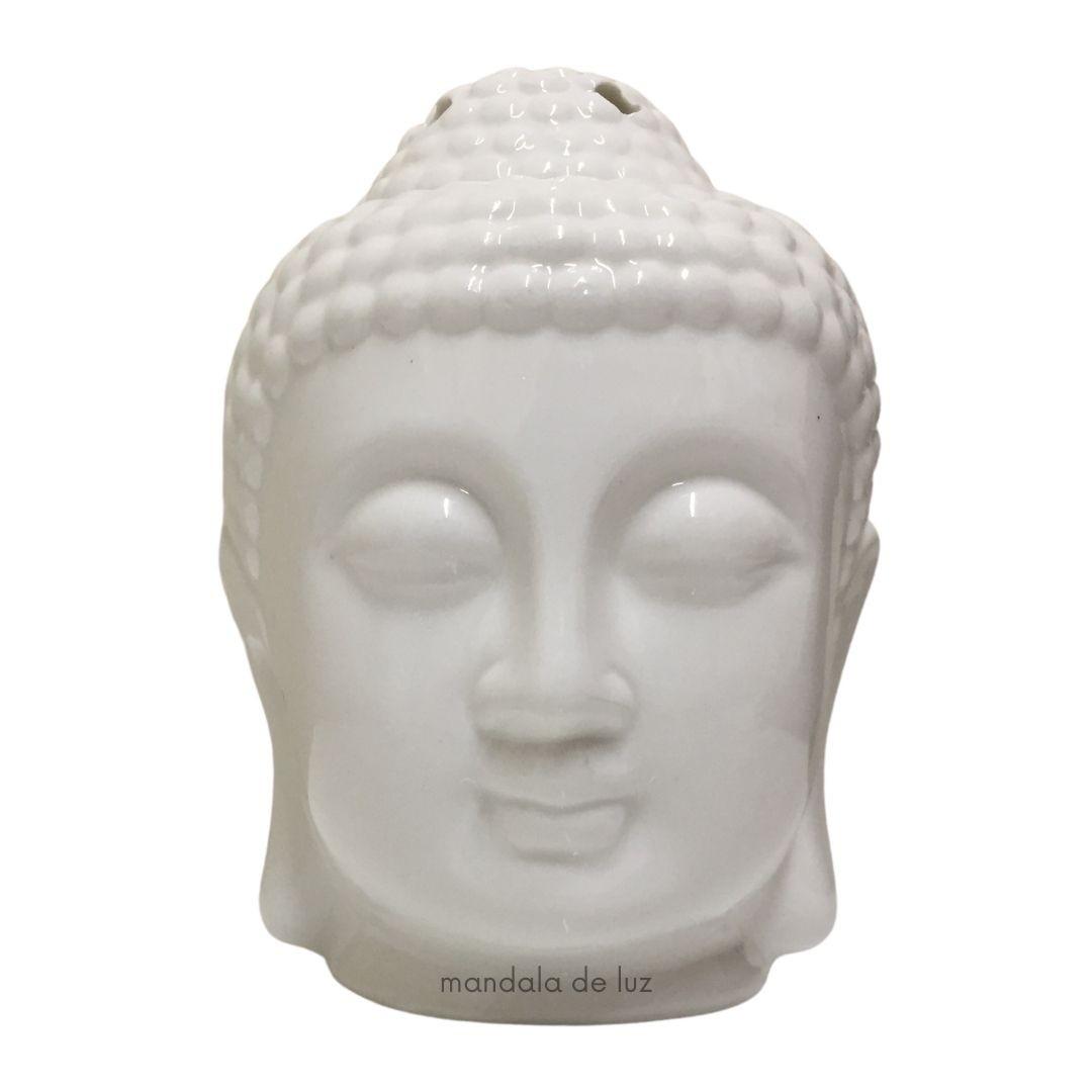Difusor Aromatizador Cabeça de Buda Branco Cerâmica 12cm