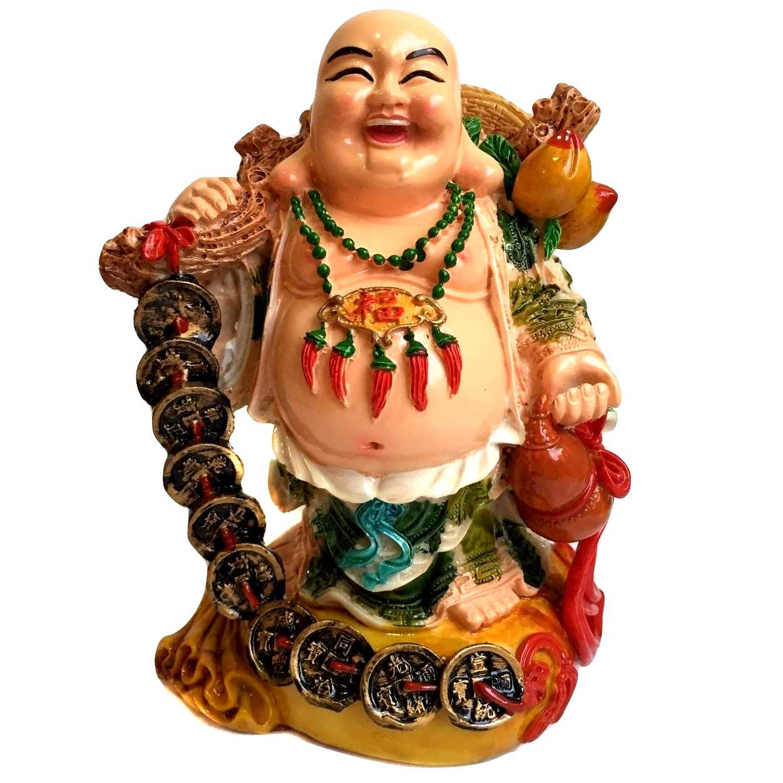 Estátua Buda Chinês Sorridente com Pote de Ouro 17cm