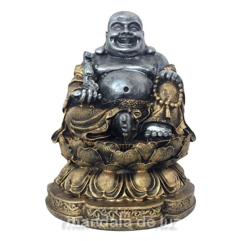 Estátua Buda Chinês Sorridente da Riqueza Flor de Lótus 24cm
