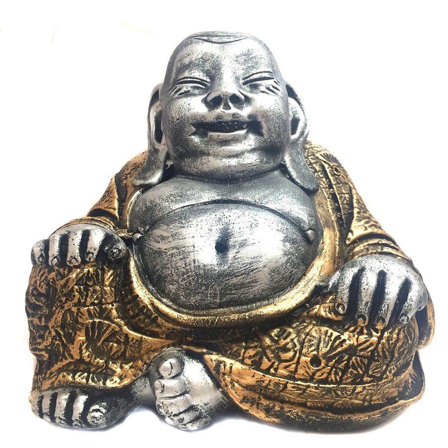 Estátua Buda Chinês Sorridente da Riqueza Prata e Dourado 16cm