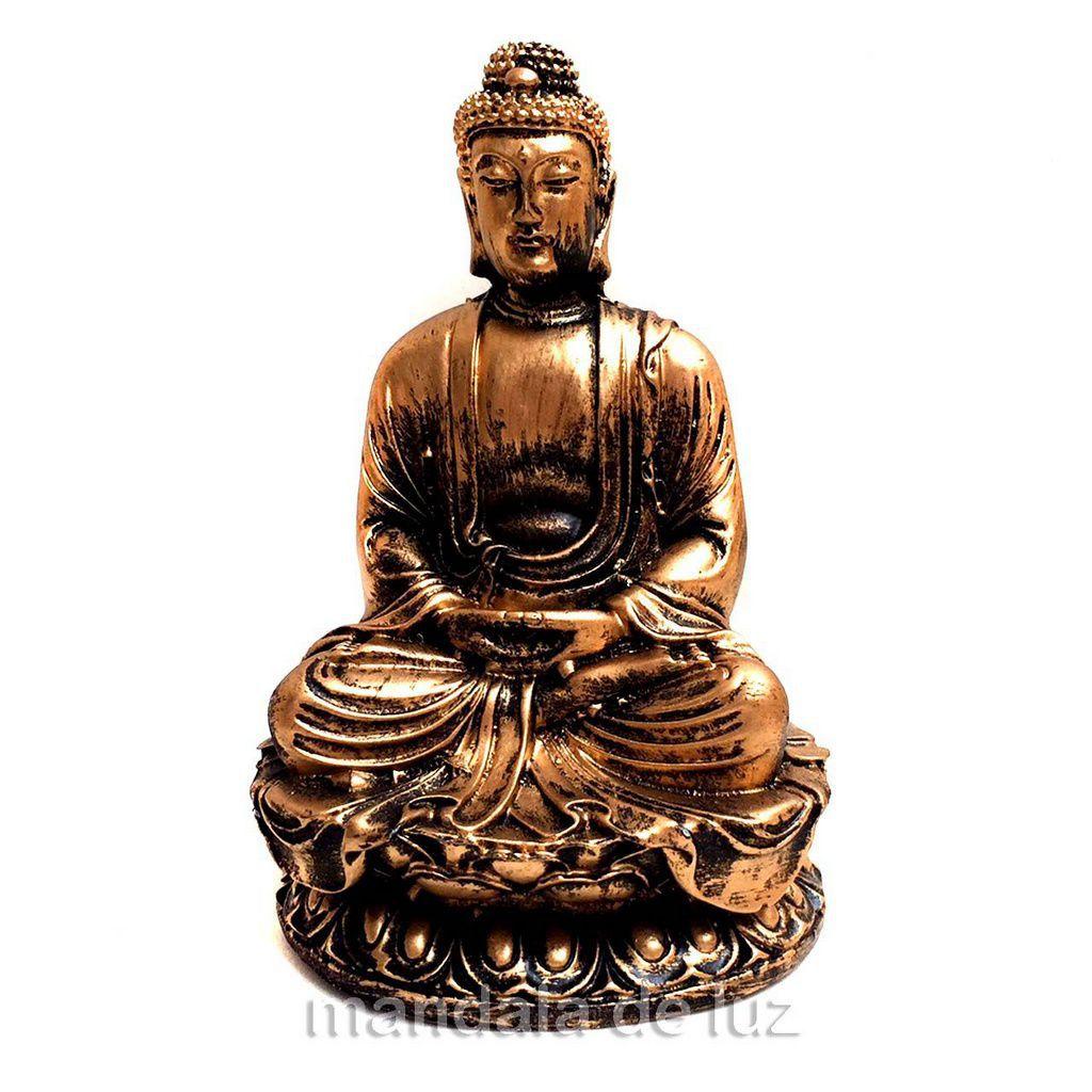 Estátua Buda Hindu Dourado Resina 12cm