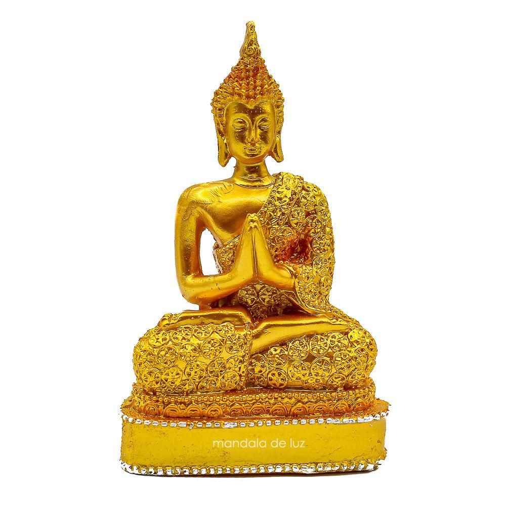Estátua Buda Hindu Orando Dourado 12,5cm