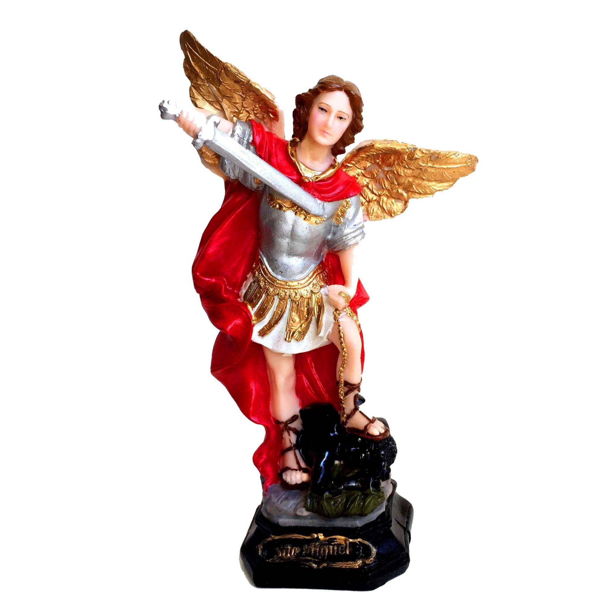 Estátua de Arcanjo São Miguel Resina 18cm