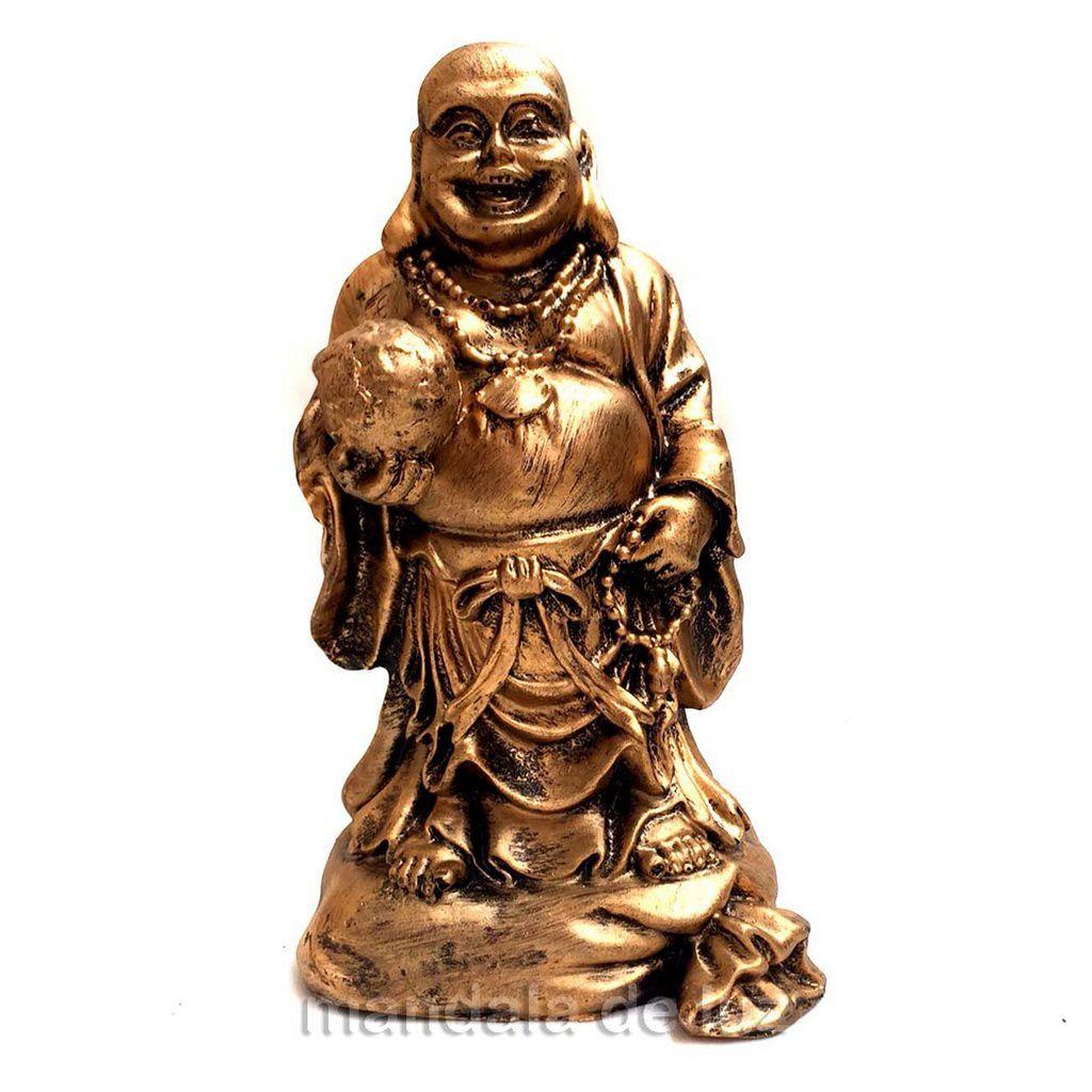 Estátua de Buda Chines da Riqueza em Pé Resina 14cm