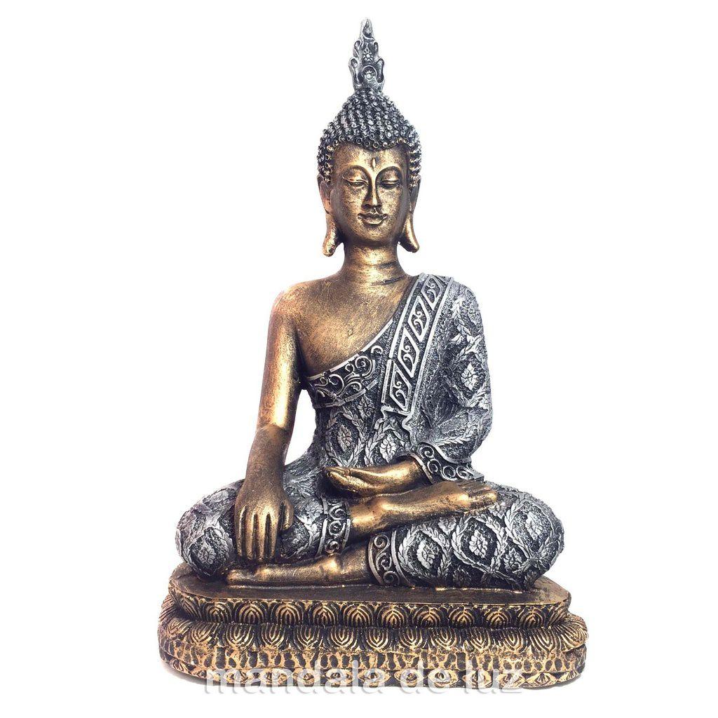 Estátua de Buda Grande Dourado e Prateado Resina 32cm