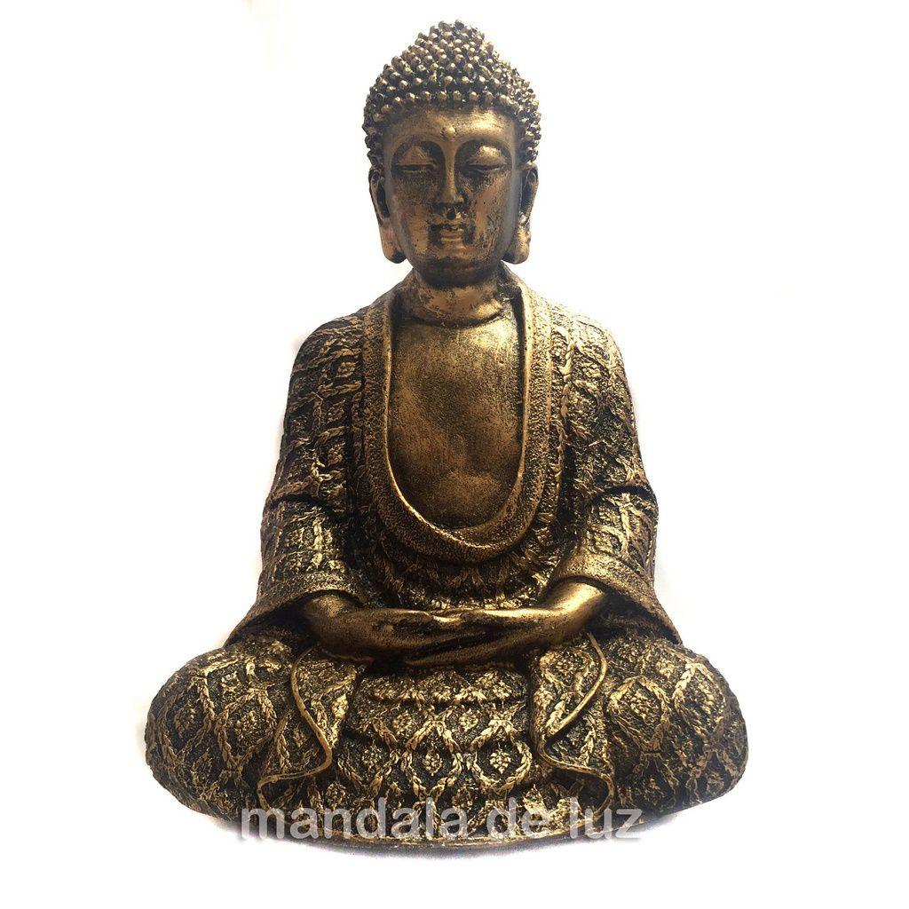 Estátua de Buda Hindu Dourado Resina 22cm