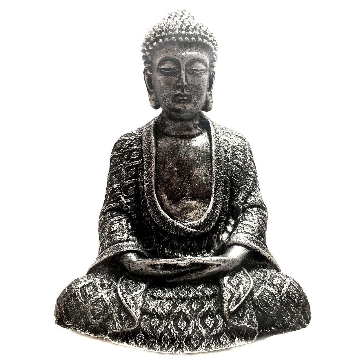 Estátua de Buda Hindu Prateado Resina 22cm