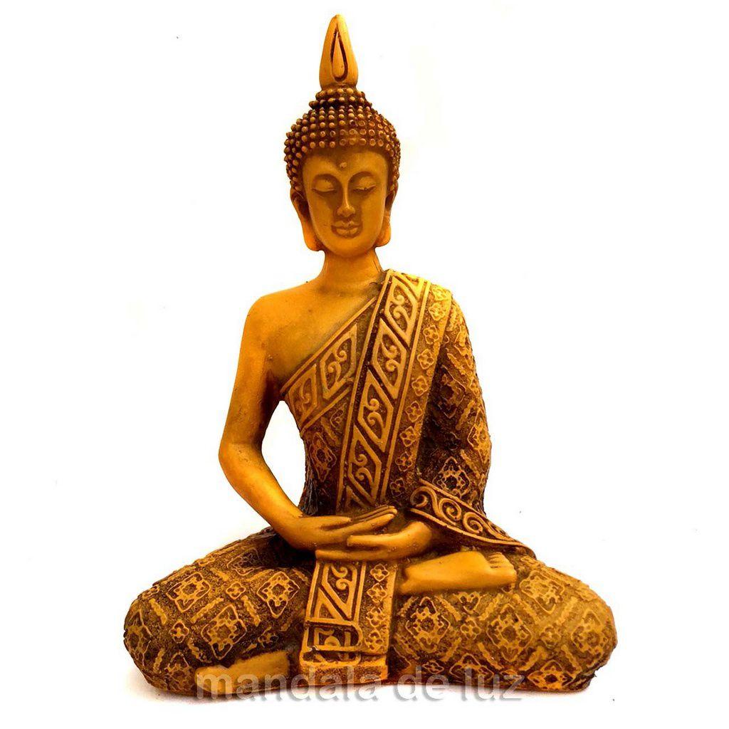 Estátua de Buda Hindu Resina Amarelo 19,5cm
