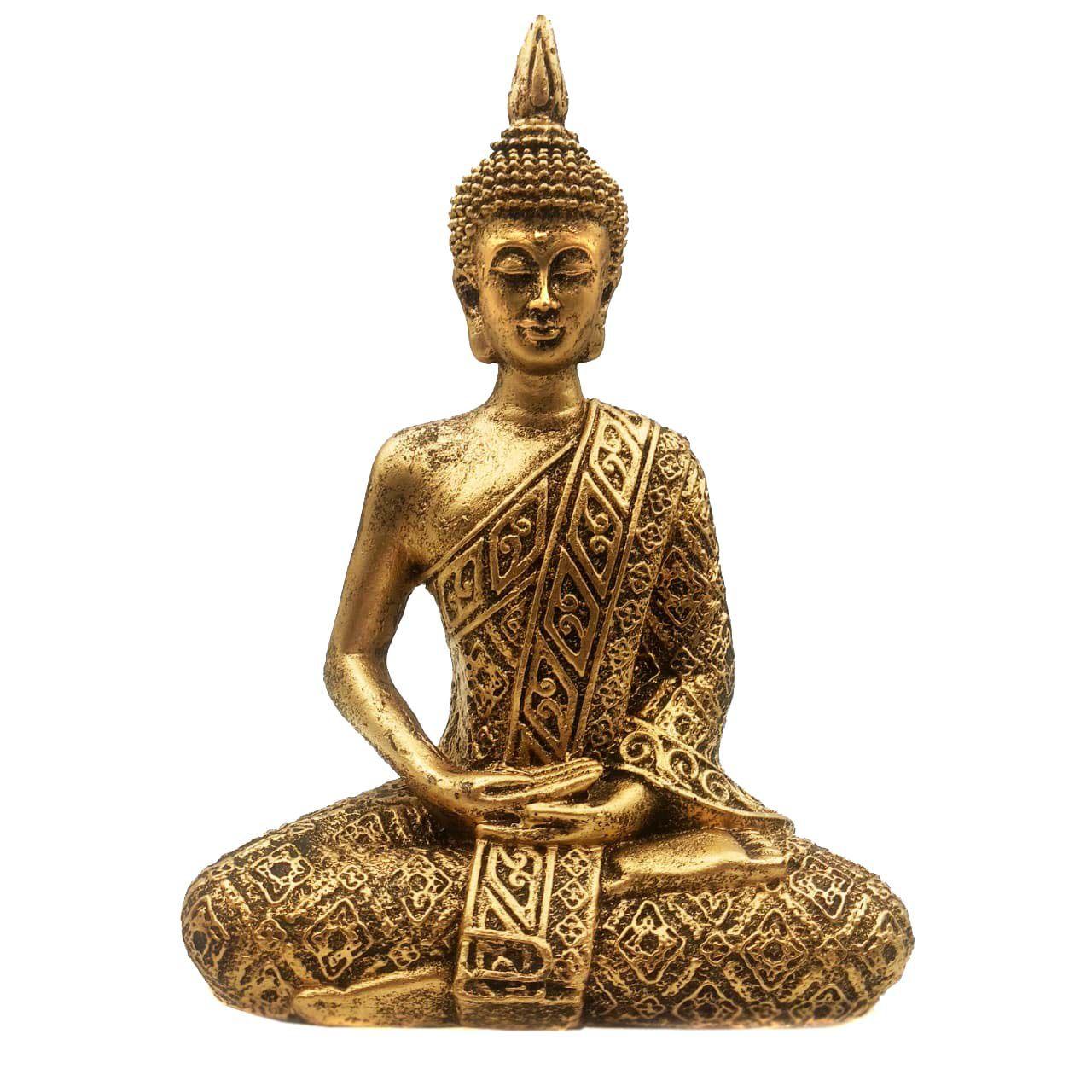 Estátua de Buda Hindu Resina Dourado 19,5cm