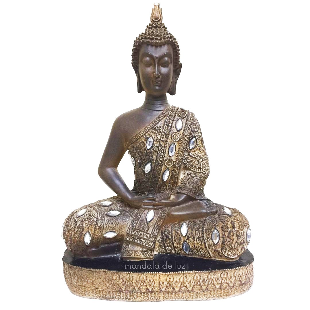 Estátua de Buda Hindu Resina Marrom com Strass 32cm
