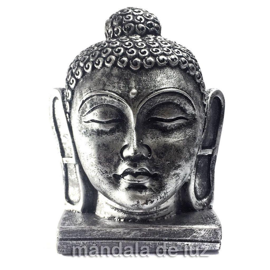 Estátua de Cabeça de Buda Grande Resina Prateada 16cm