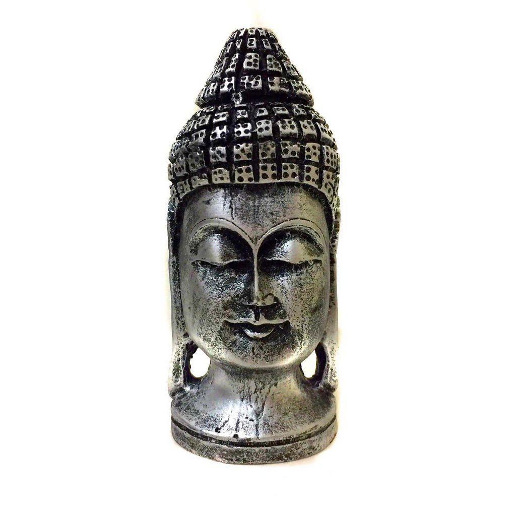 Estátua de Cabeça de Buda Resina Prateada 15cm