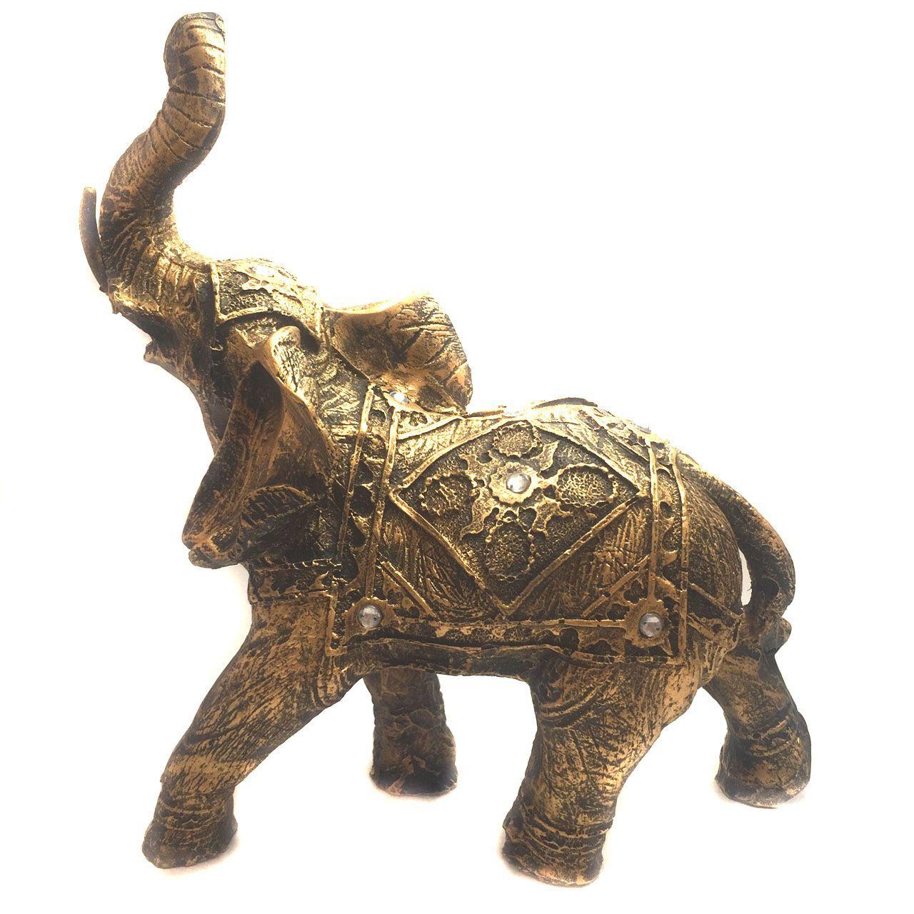 Estátua de Elefante Indiano Dourado Resina 23cm