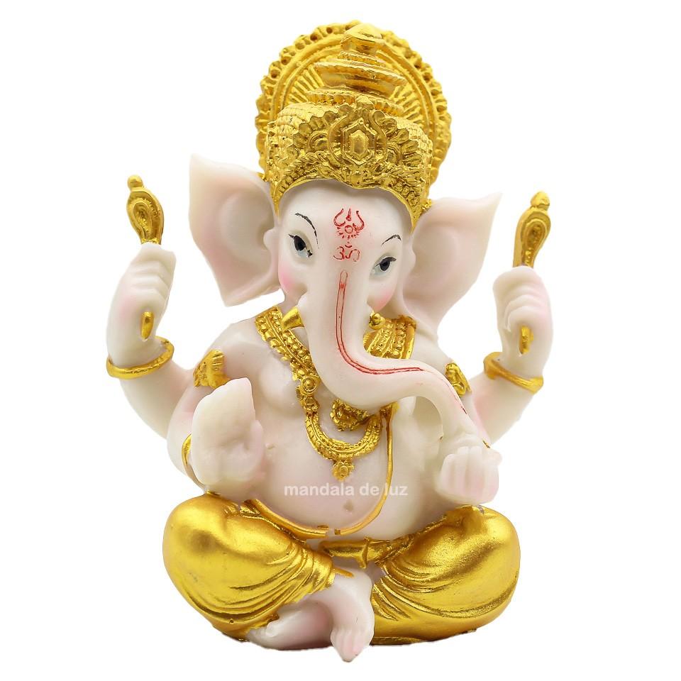 Estátua de Ganesha Colorido Branco Resina 14cm