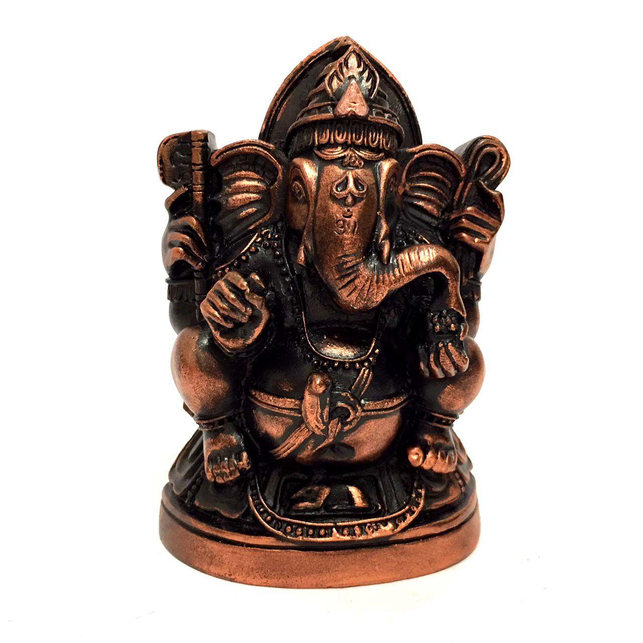 Estátua de Ganesha de Gesso Bronze 11,5cm