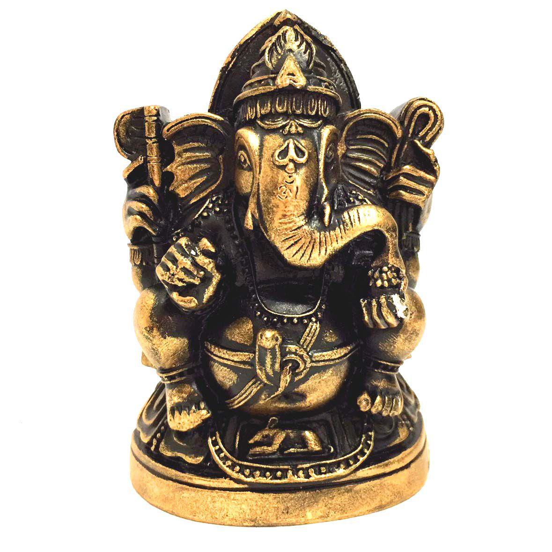 Estátua de Ganesha de Gesso Dourado 11,5cm