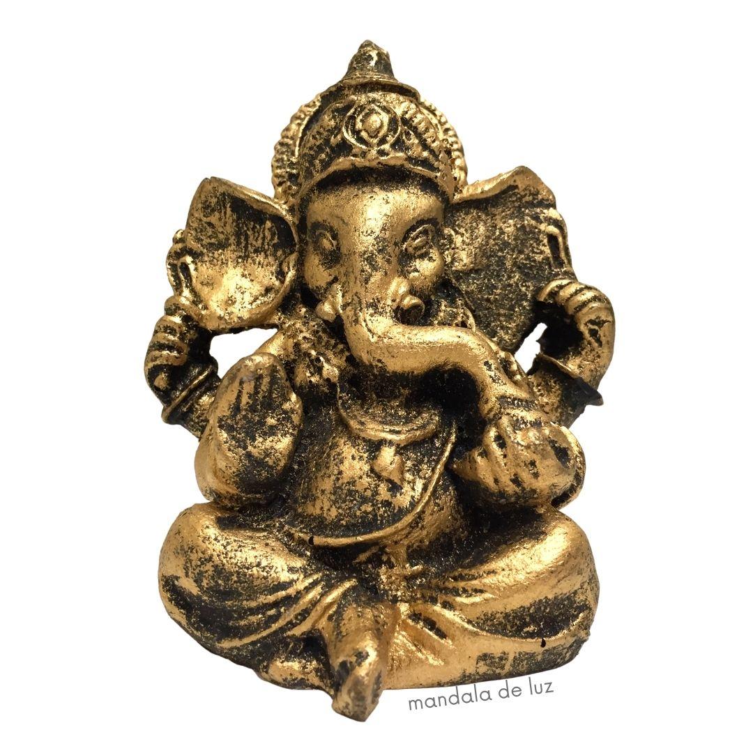 Estátua de Ganesha Dourado Pequeno Resina 9,5cm