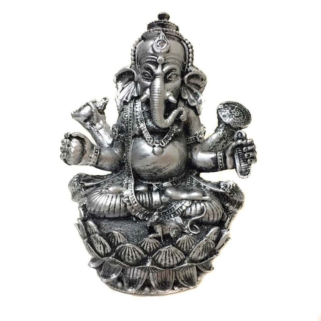 Estátua de Ganesha Flor de Lotus Prateado Resina 15cm