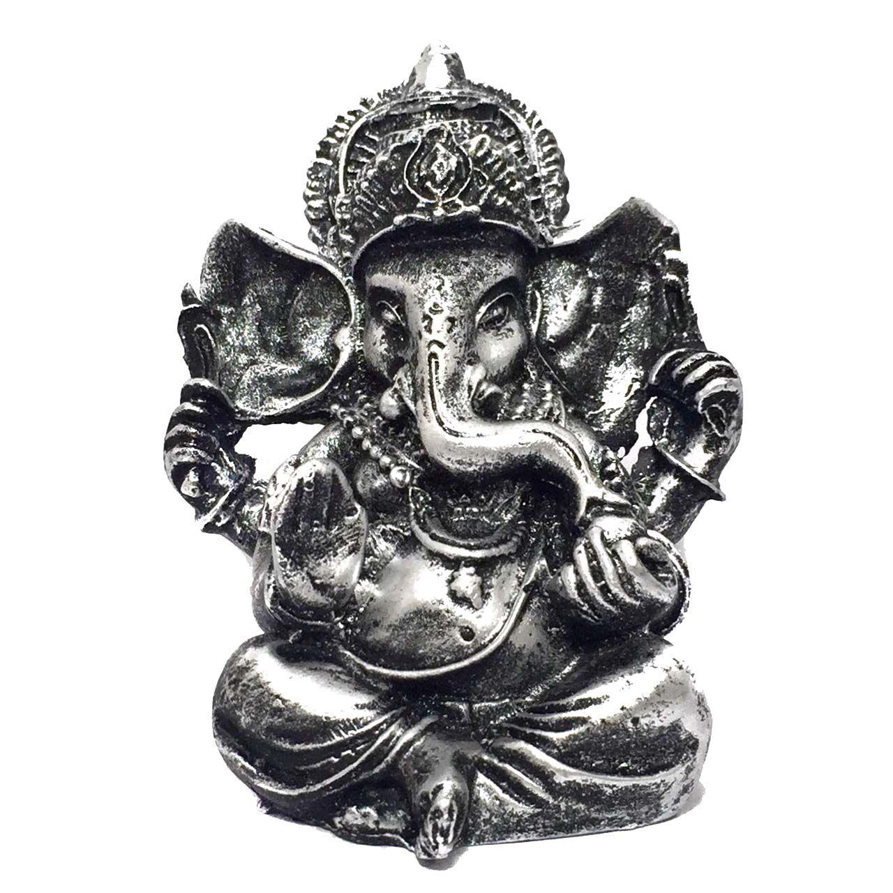 Estátua de Ganesha Prateado Pequeno Resina 10cm