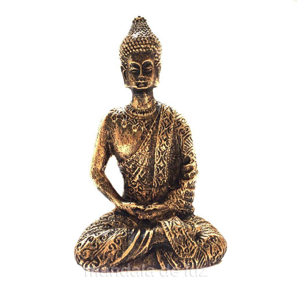 Estátua de Mini Buda Hindu Tibetano Dourado Resina 9cm