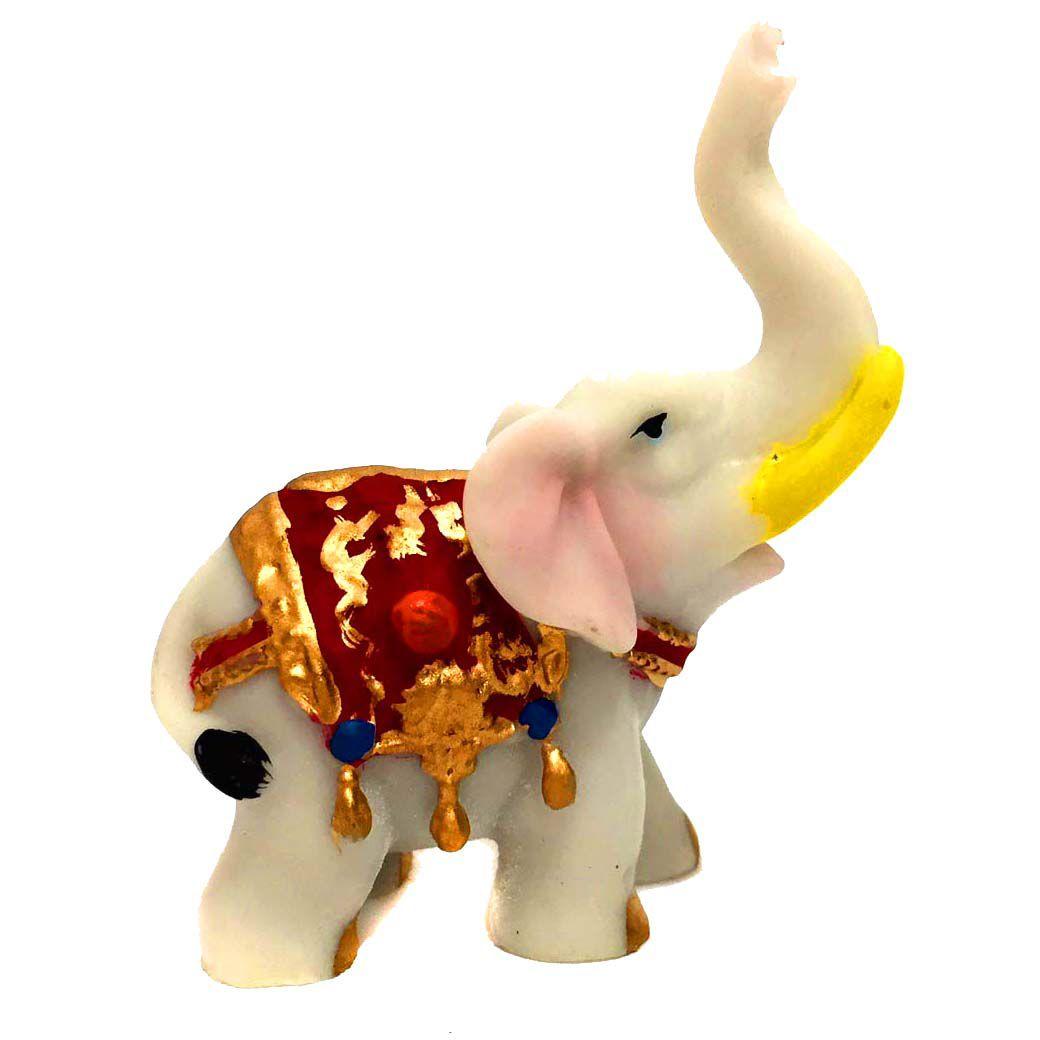 Estátua de Mini Elefante Indiano Colorido Resina 8cm