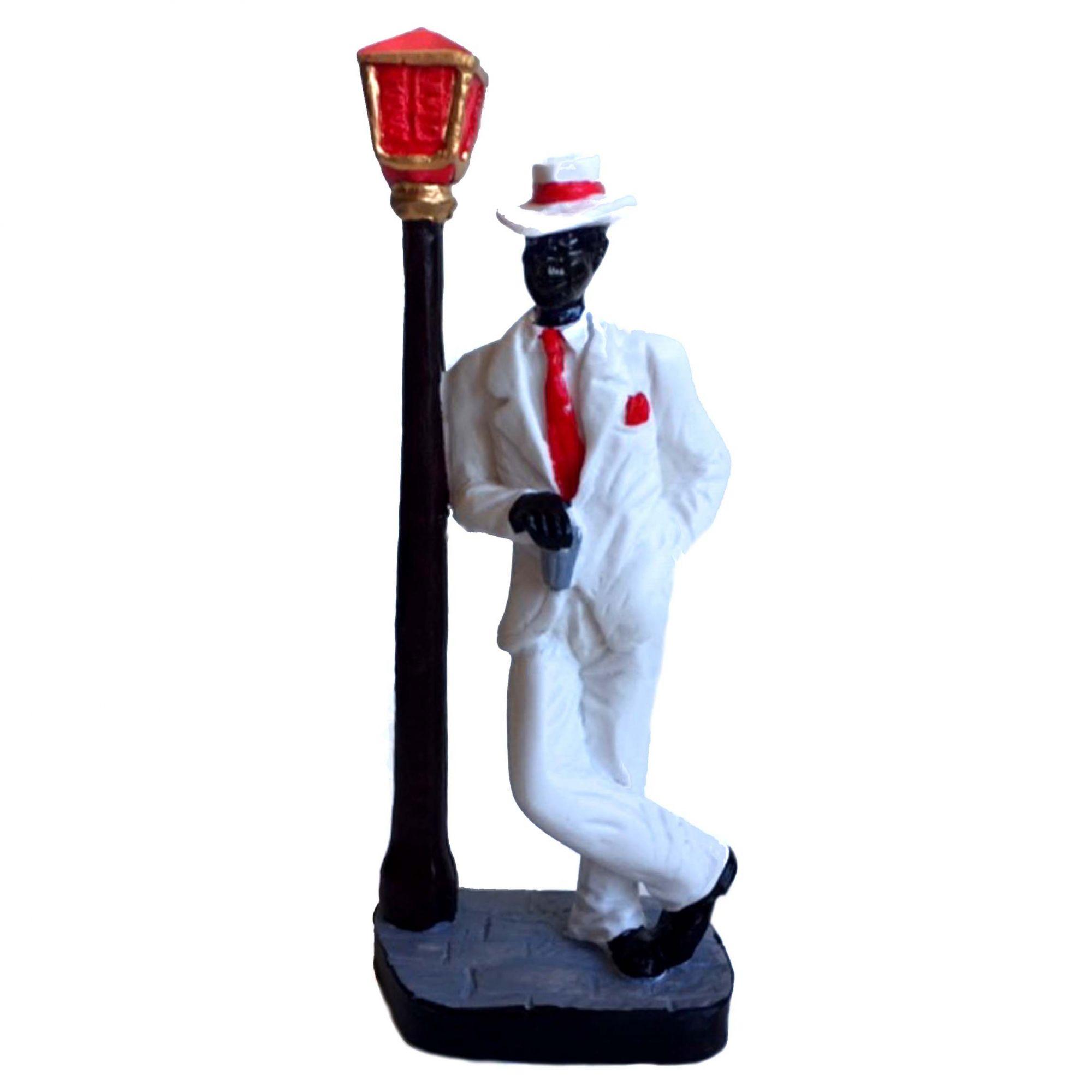 Estátua de Zé Pelintra Resina Com Poste 17cm