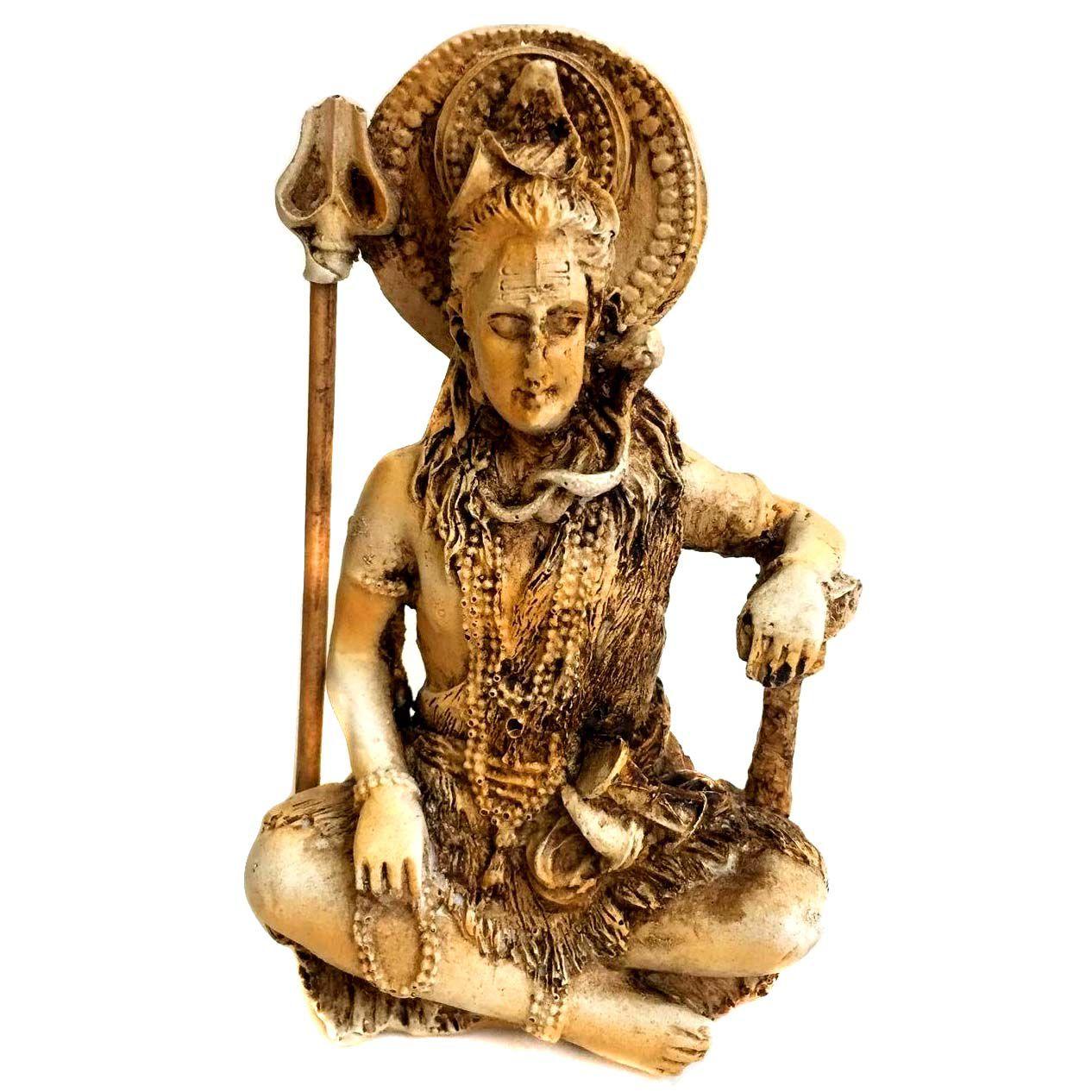 Estátua Deus Shiva Sentado Resina 12cm