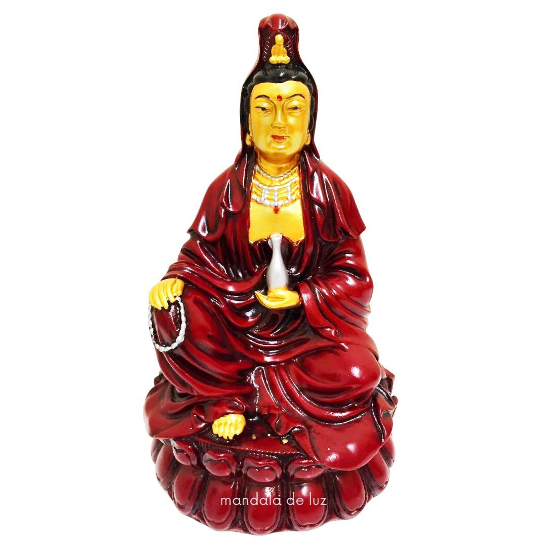 Estátua Deusa Kuan Yin na Flor de Lótus Resina 15cm