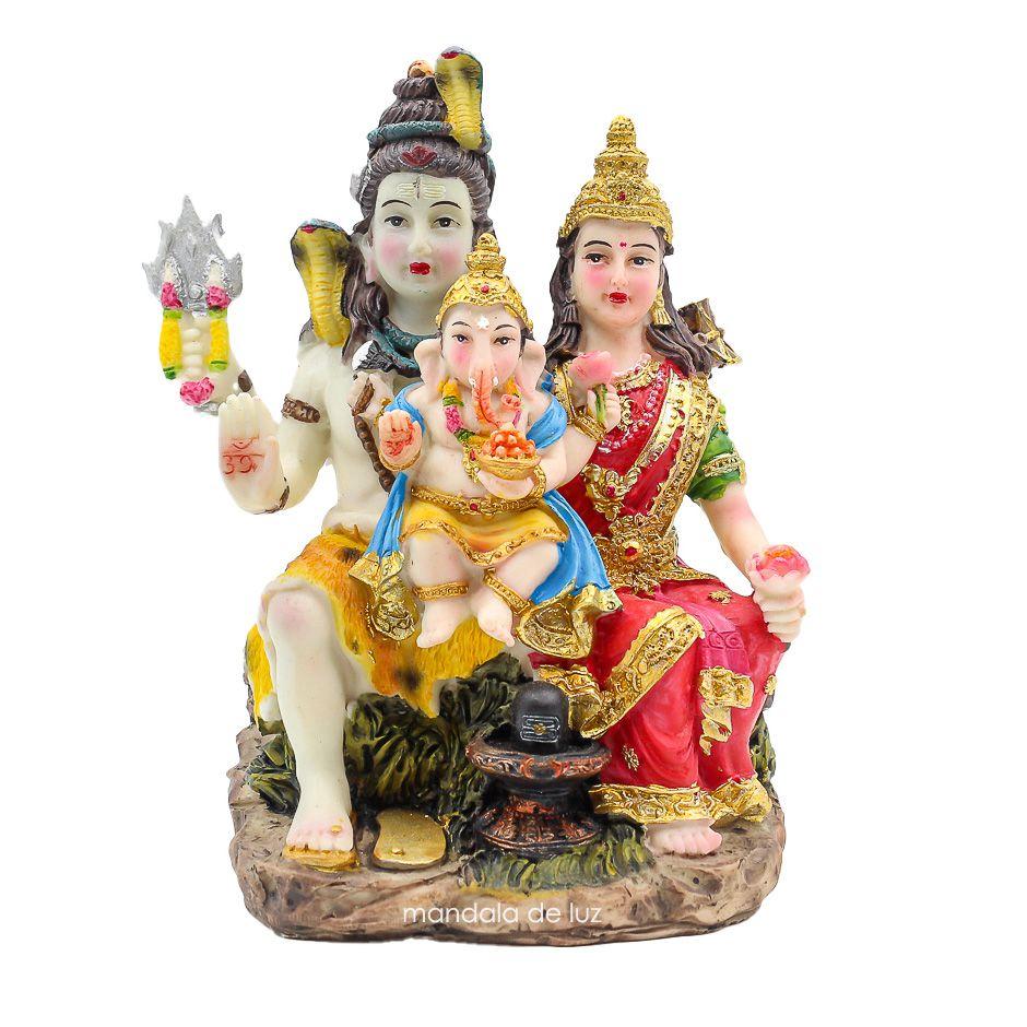 Estátua Família Shiva Colorida 13,5cm