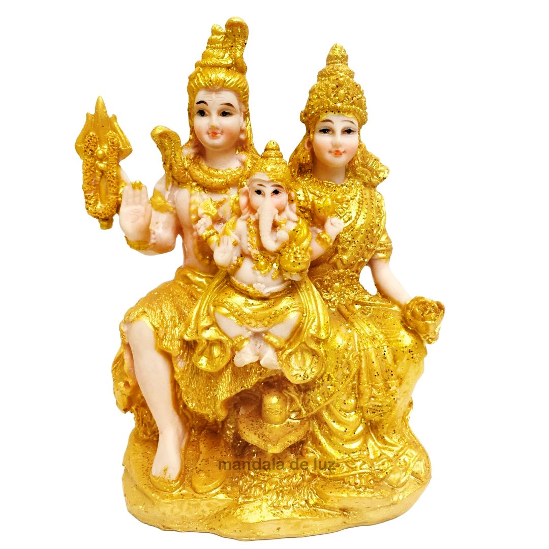Estátua Família Shiva, Parvati, Ganesha Dourada Resina 17cm