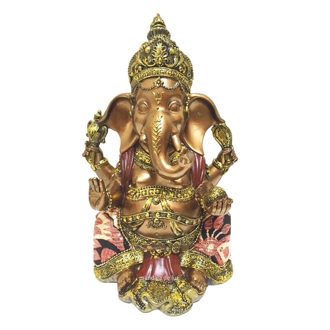 Estátua Ganesha Resina Cor Bronze Sentado Detalhe com Tecido 23cm