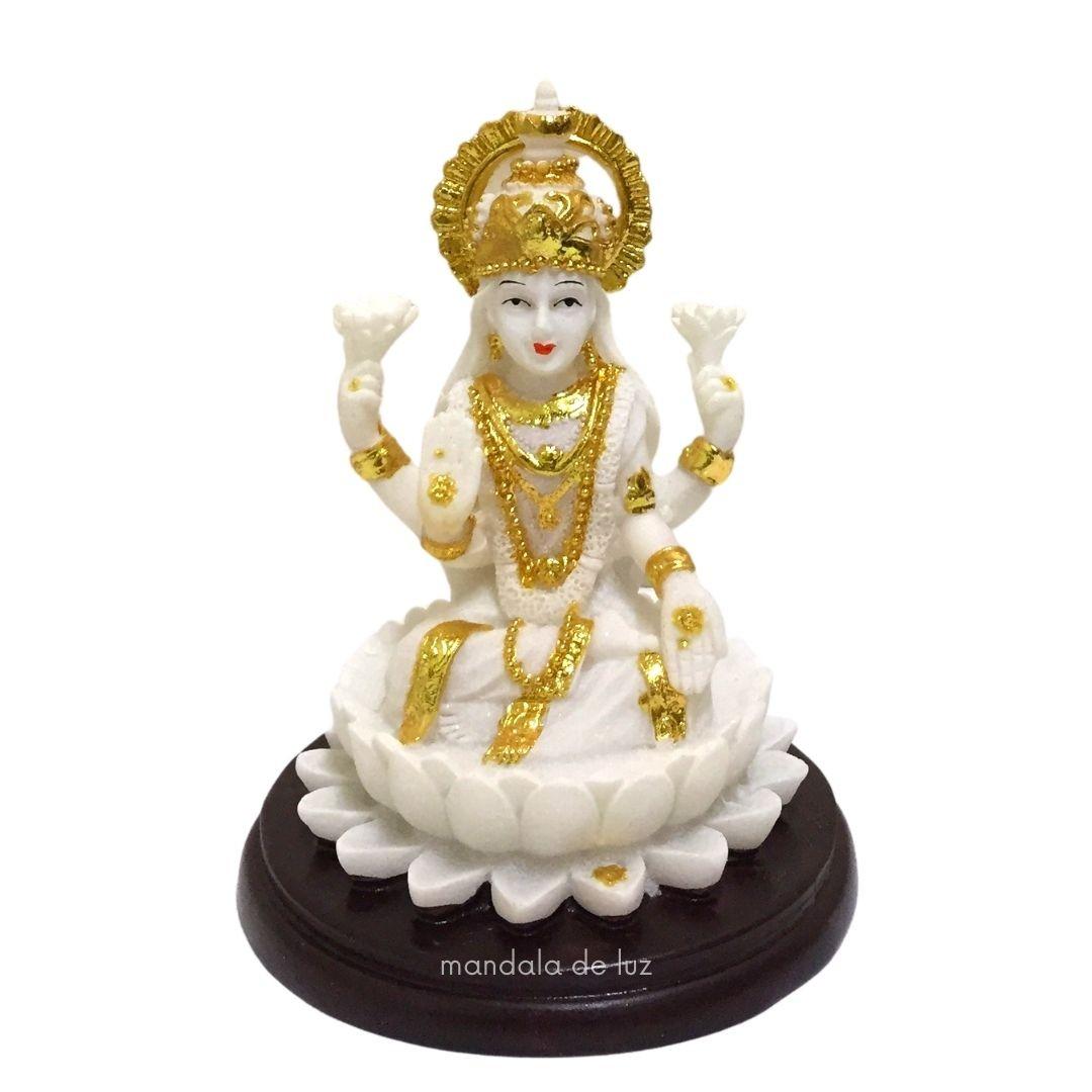 Estátua Lakshmi Deusa da Prosperidade e Riqueza Branca 11cm