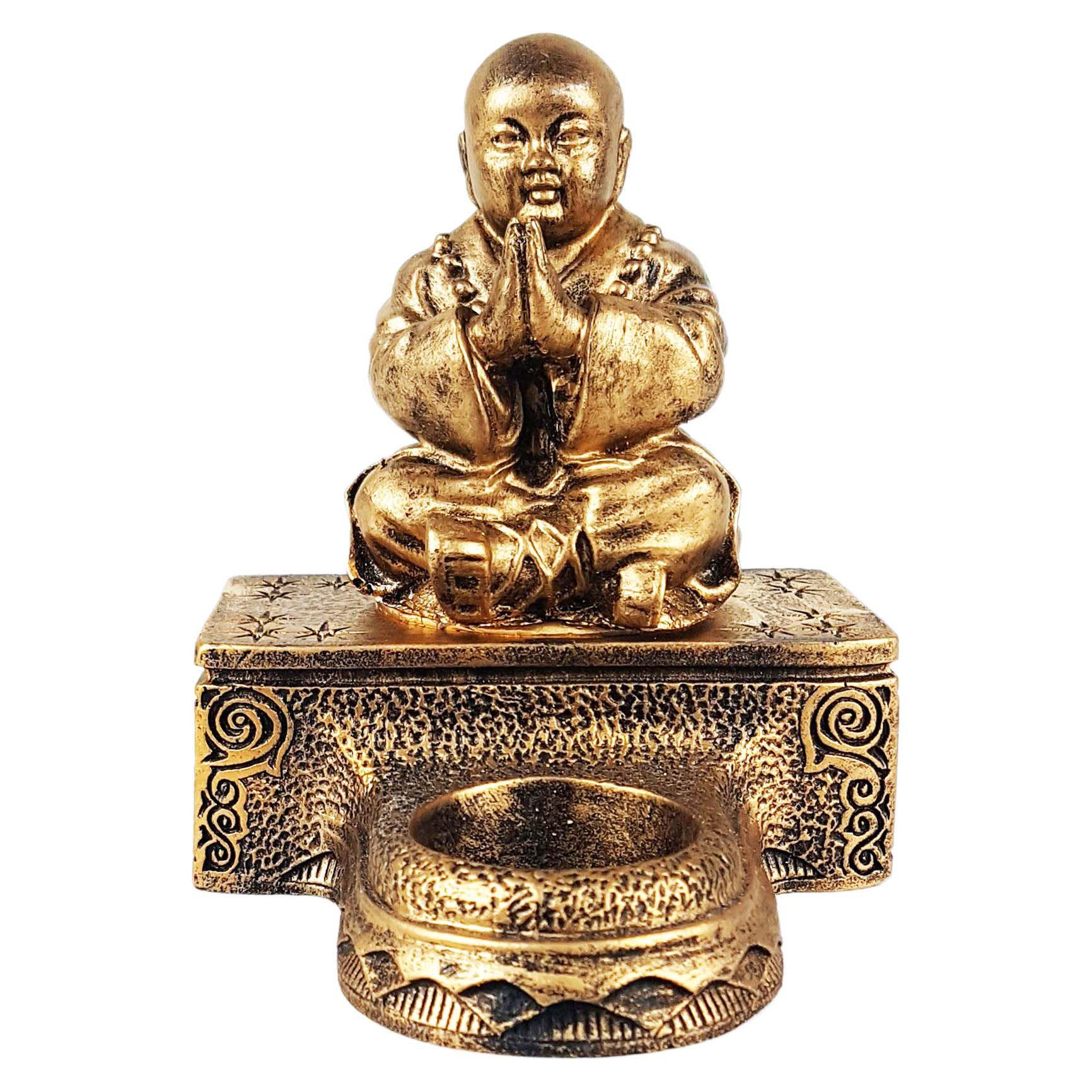 Estátua Monge Rezando com Castiçal de Resina 12cm