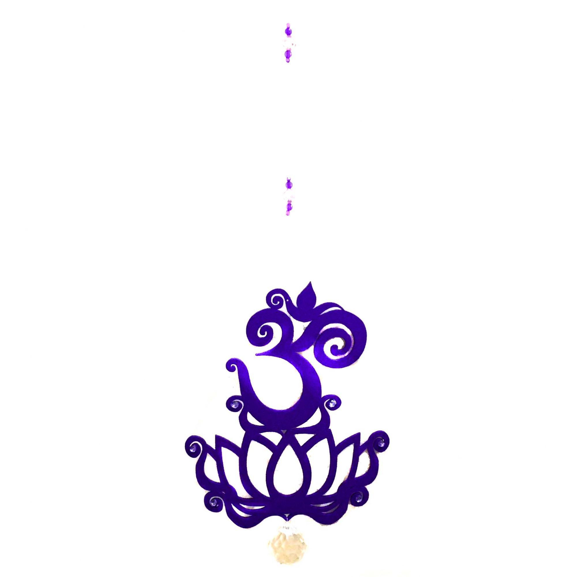 Fio de Luz Mobile Flor de Lótus OM Roxo Lilás com Prisma