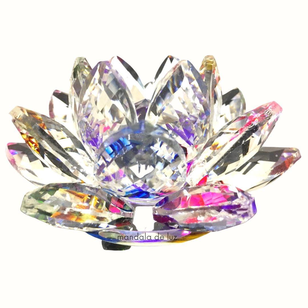 Flor de Lótus Cristal Colorida e Transparente Brilhante Decoração 8cm
