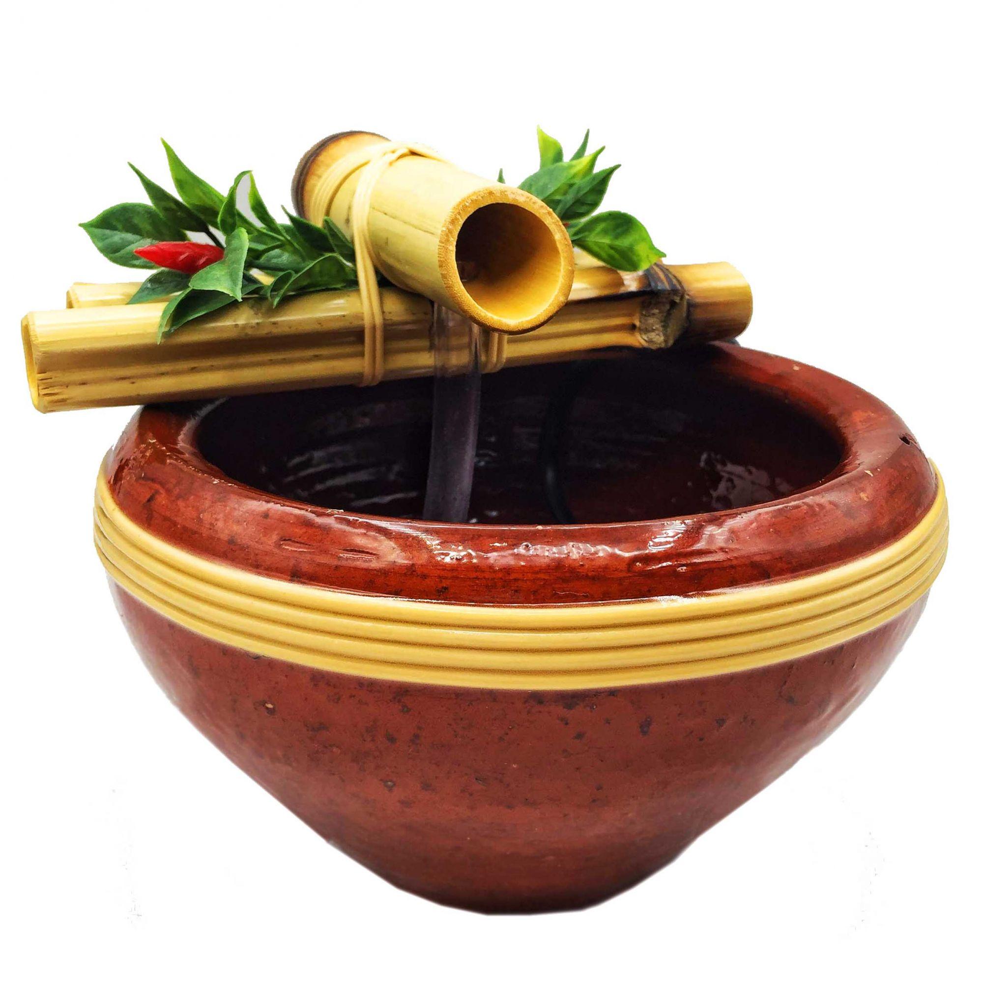Fonte Água Bambu Cerâmica Feng Shui Bivolt