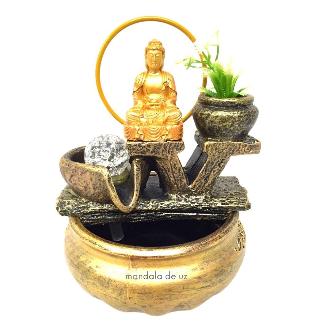 Fonte de Água Buda Hindu com Bola Giratória e Vaso de Planta 23cm