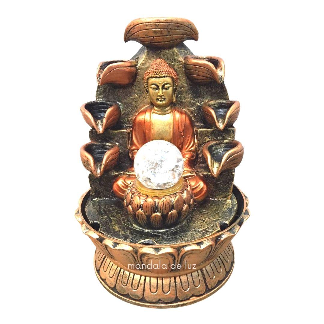 Fonte de Água Buda Hindu com Flor de Lótus 8 Quedas Bivolt 27,5cm