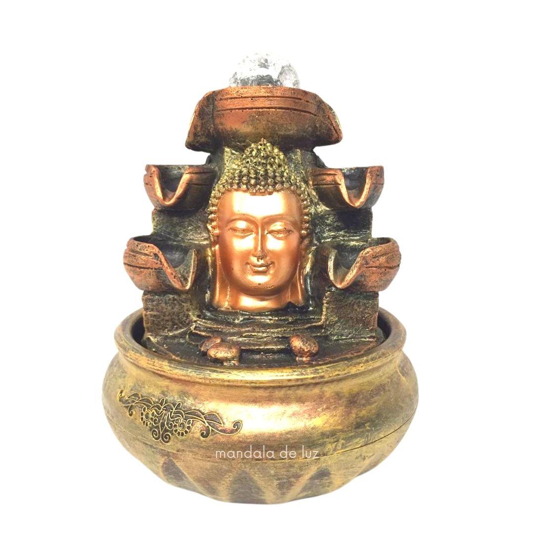 Fonte de Água Cabeça de Buda Hindu 6 Quedas com Bola Giratória 20cm