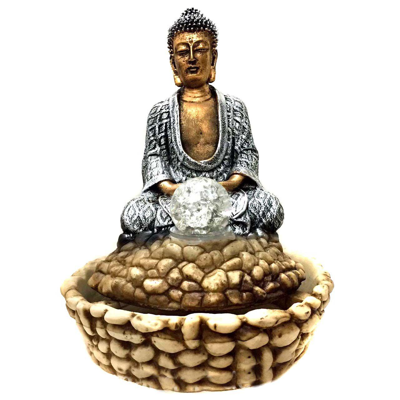 Fonte de Água Estátua de Buda Dourado e Prateado 31cm - 216