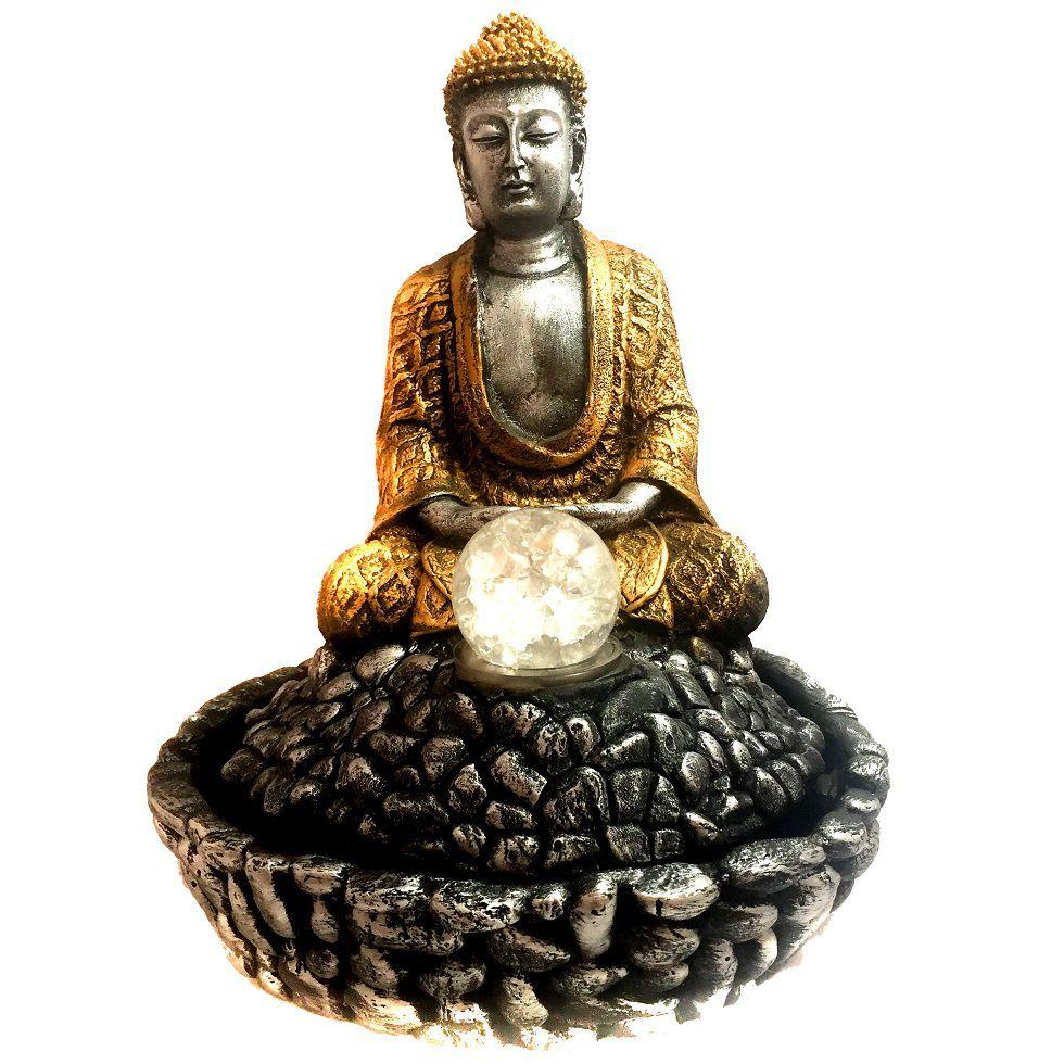 Fonte de Água Estátua de Buda Prateado e Dourado 31cm - 748