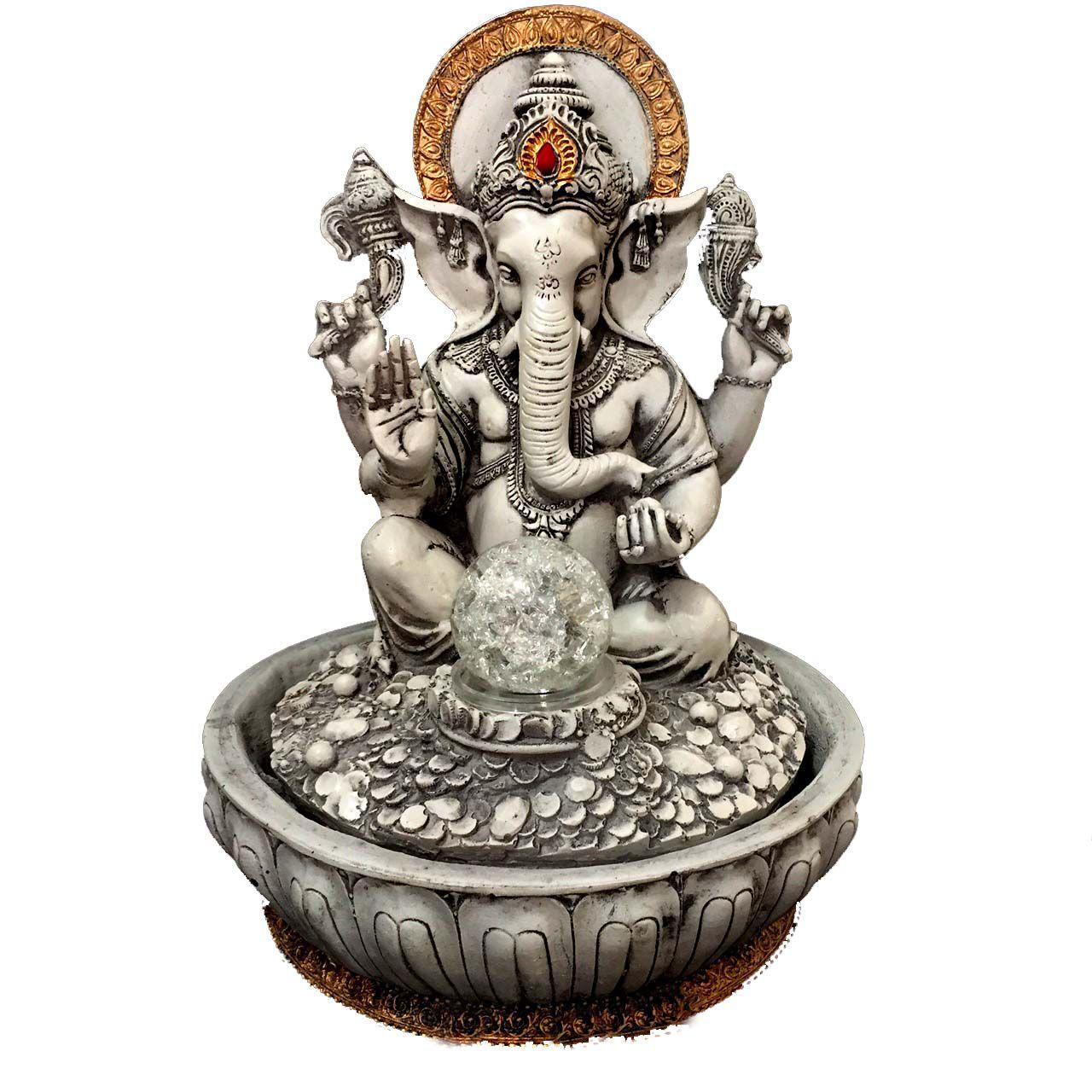 Fonte de Água Estátua de Ganesha Cinza Bivolt 30cm