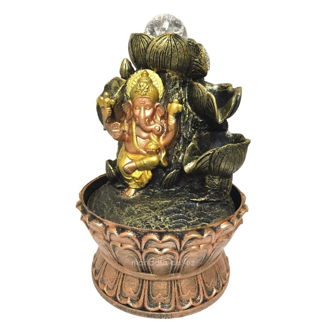 Fonte de Água Ganesha em Pé 3 Quedas Bivolt 20cm