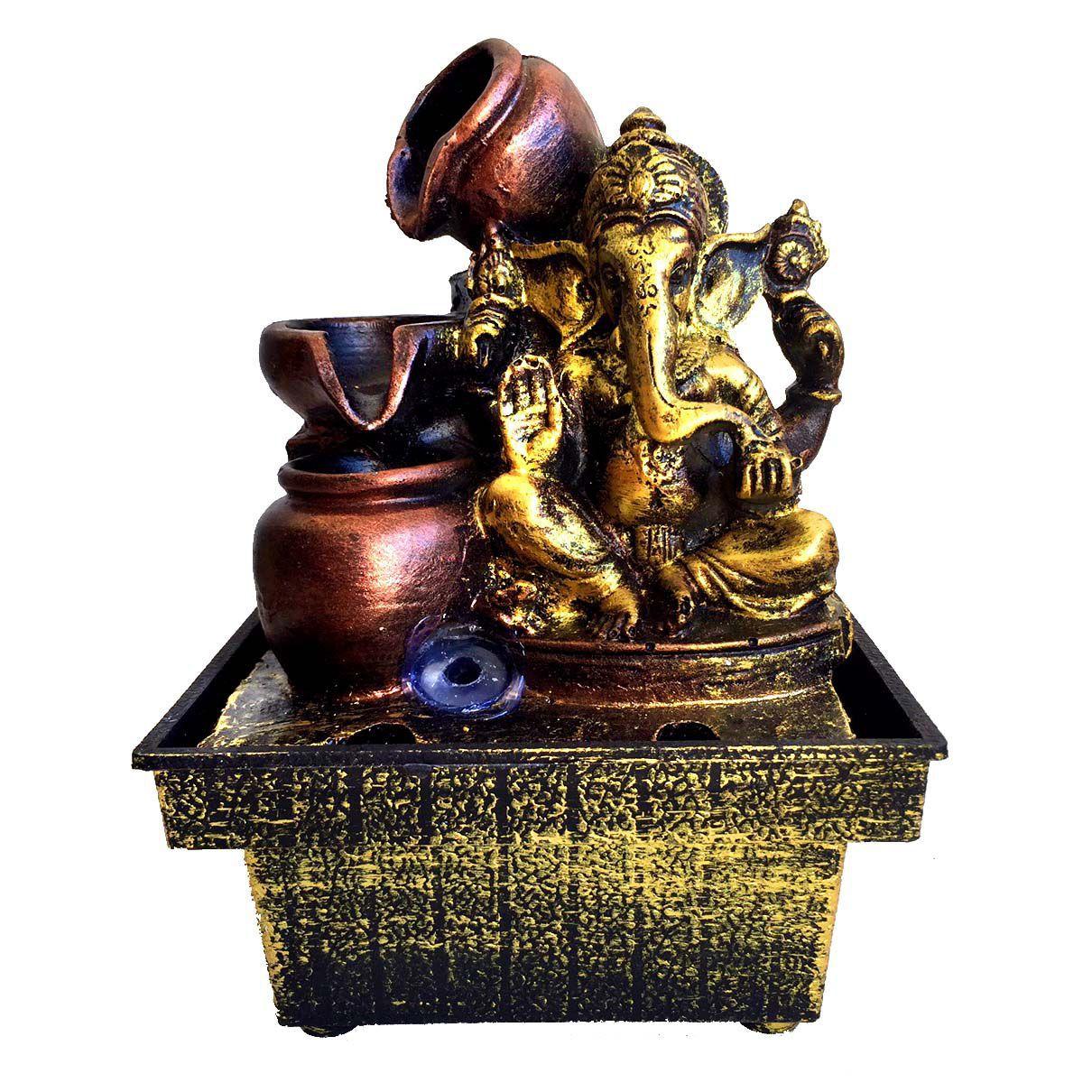 Fonte de Água Ganesha Jarro 2 Quedas Dourado 17cm