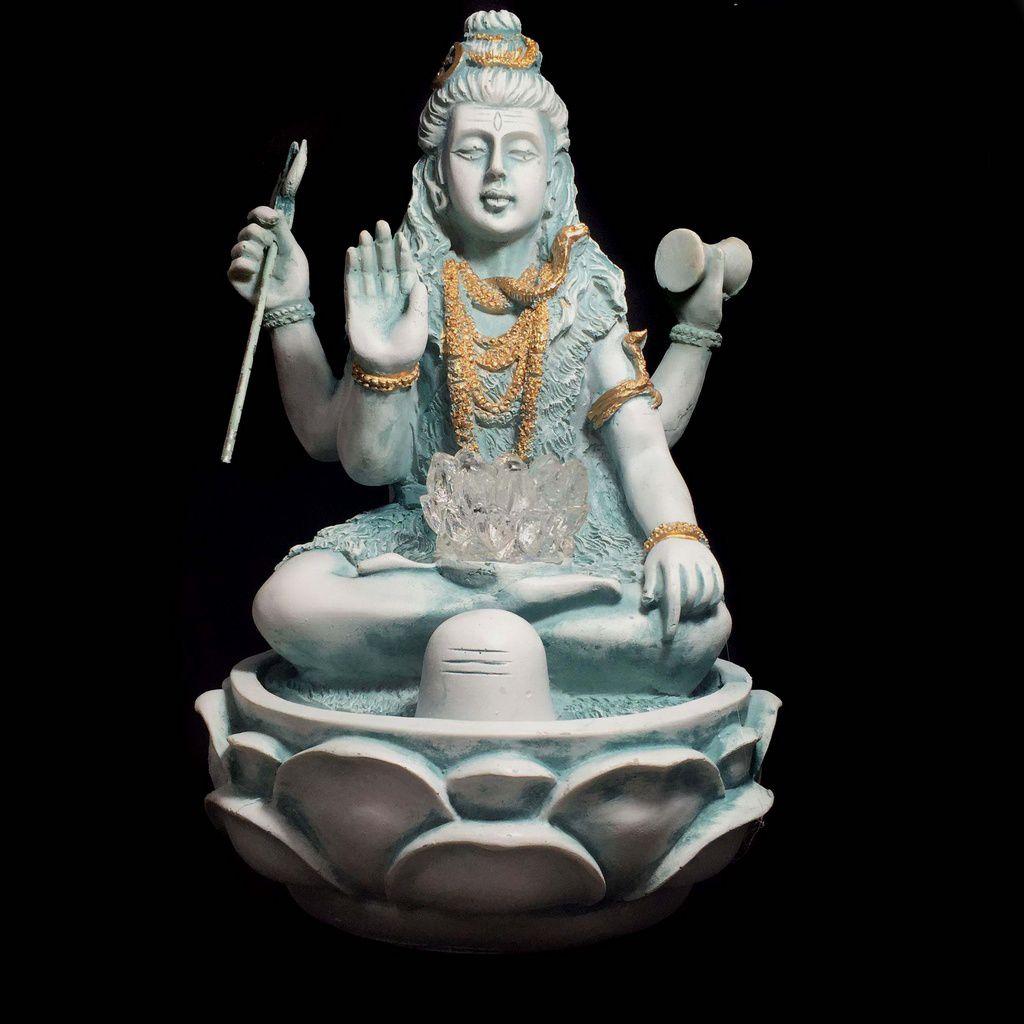 Fonte de Água Shiva com Flor de Lotus Verde 28cm