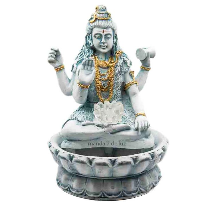 Fonte de Água Shiva com Flor de Lotus Verde Bivolt 28cm
