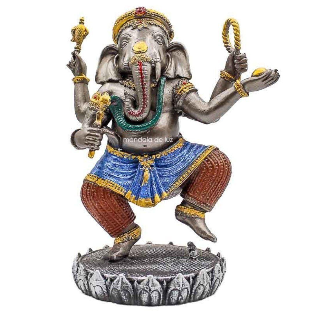 Estátua Ganesha Dançando Colorido Resina 19,5cm
